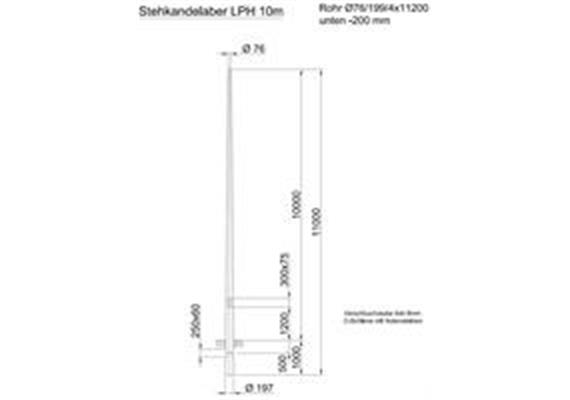 Kandelaber Stahl Masthöhe 10m