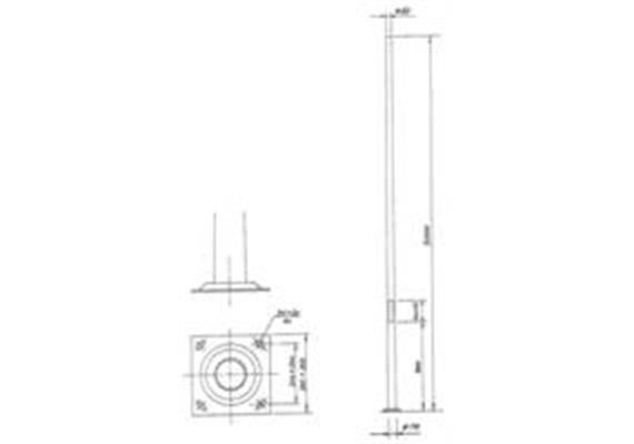 Kandelaber Stahl Masthöhe 5m mit Fussplatte