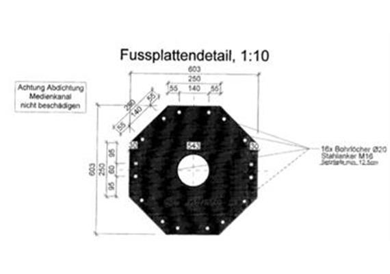 Kandelaber Stahl Masthöhe 6.2m 8-Eck Flansch