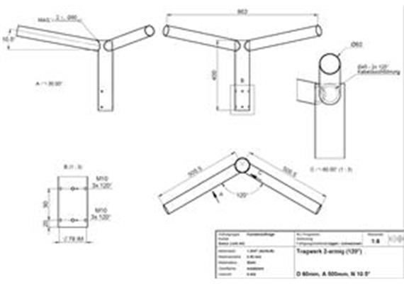 Tragwerk 500mm 2-armig 120 Grad