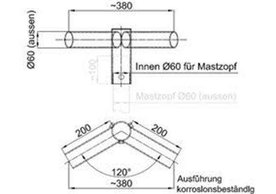 Tragwerk Swiss Licht 2-armig 120 Grad