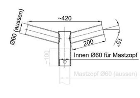 Tragwerk Swiss Licht 2-armig 180 Grad