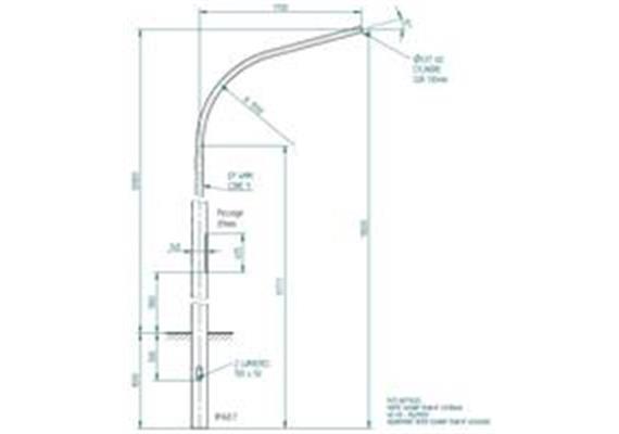 Peitschenkandelaber Stahl Masthöhe 10m